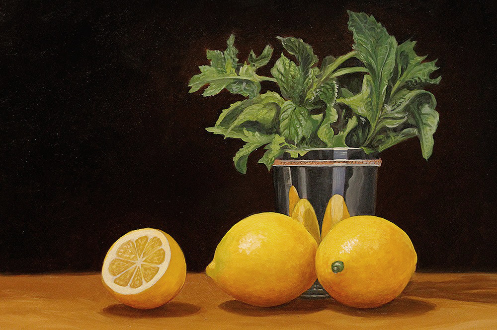 Lemons and mint. Oil on board, 9 x 12 in. ©Patrick J. Lynch, 2017. All rights reserved.