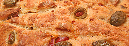 Close-up of antipasto bread.