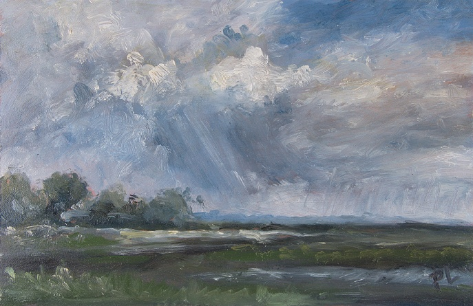 Storm, Barn Island. Oil on board, 6 x 9 in. ©Patrick J. Lynch, 2017. All rights reserved.