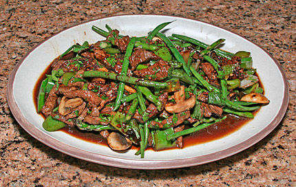 Finished beef-haricot verte stir fry.