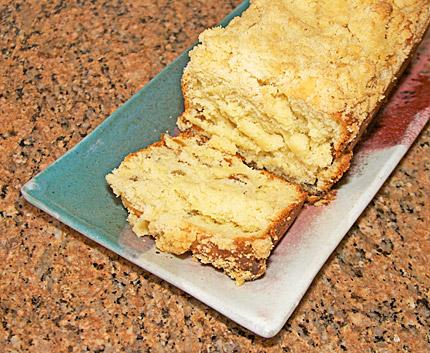 Sliced crumb kuchen coffee cake loaf (placek).