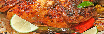 Close-up view of cumin chicken.