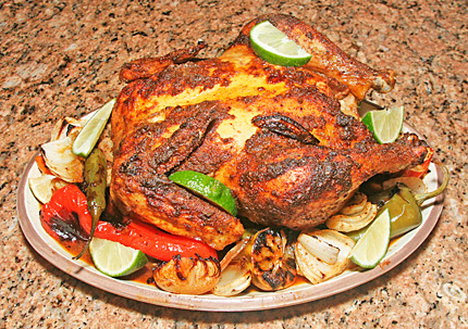 Photo of cumin lime roast chicken.