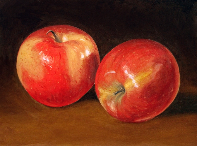 Gala Apples. Oil on board, 7 x 10 in. ©Patrick J. Lynch, 2017. All rights reserved.