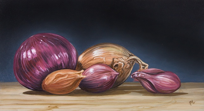 Onions and Shallots. Oil on board, 6 x 11 in. ©Patrick J. Lynch, 2017. All rights reserved.