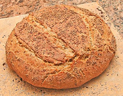 Rye bread baked in a Dutch oven.