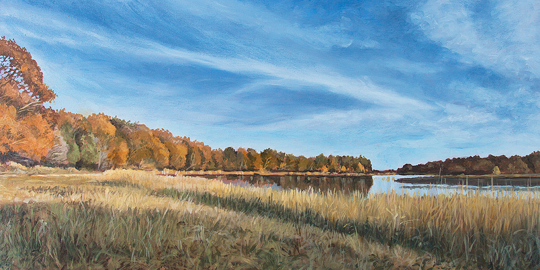 The Salt Pond, Eastham. Oil on board, 7 x 14 in. ©Patrick J. Lynch, 2017. All rights reserved.