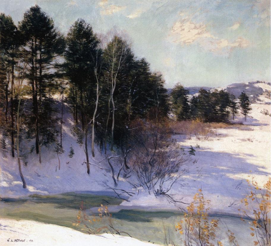 "Oil painting by Willard Metcalf ""Thawing Brook (Winter Shadows), from 1911."
