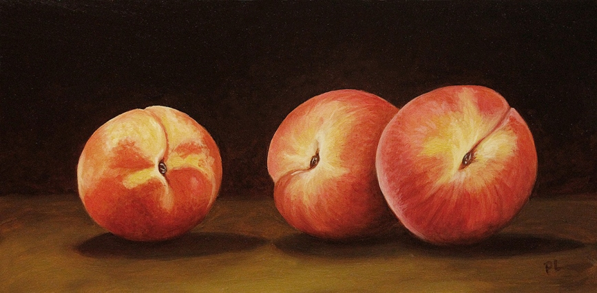 Three peaches. Oil on board, 6 x 11 in. ©Patrick J. Lynch, 2017. All rights reserved.