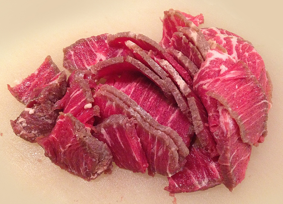 Thin-sliced beef.