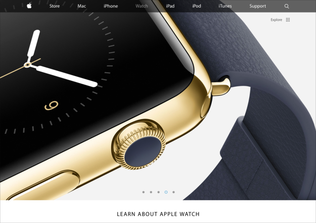 Screen grab from Apple's web site, of the forthcoming Apple Watch.