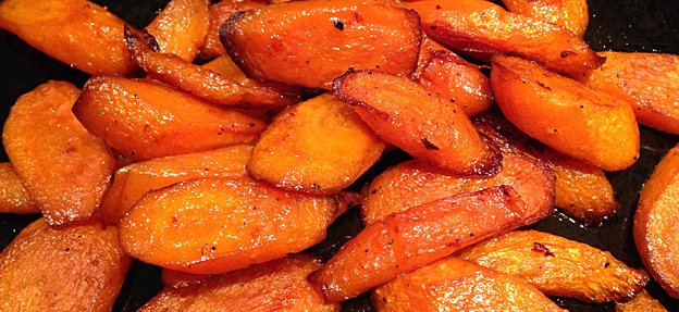 Spicy roasted carrots, finished dish.