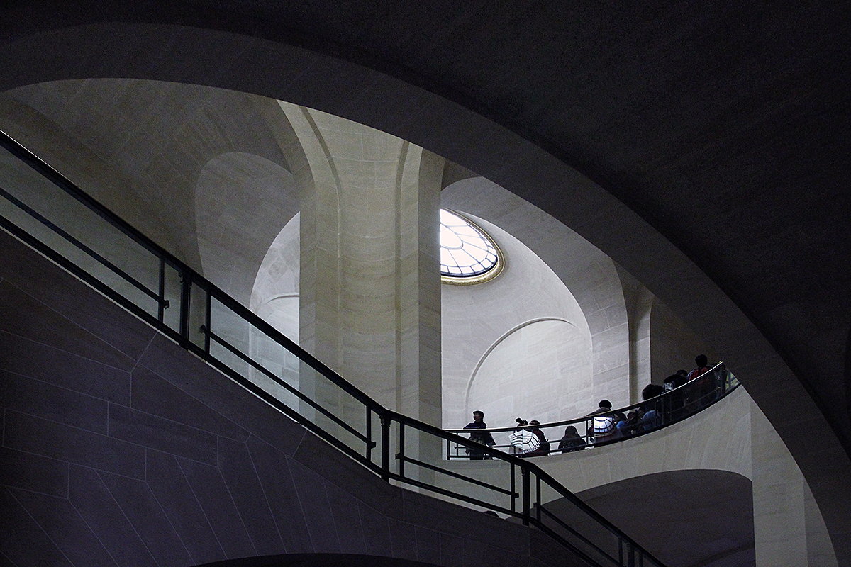 Stairway at the Louvre Museum.