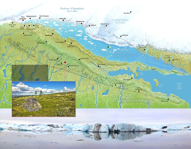 A geologic reconstruction of Glacial Lake Connecticut, a fresh meltwater lake that occupied the basin of Long Island Sound approximately 20,000 years ago. Photoshop illustration. ©Patrick J. Lynch, 2017. All rights reserved.