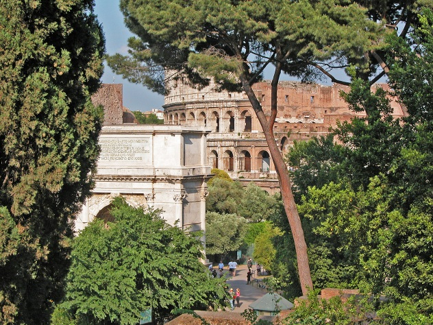 The Roman Forum, Arch of Titus, and the Colosseum.