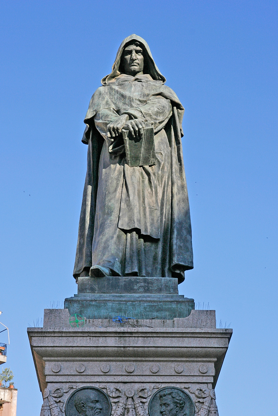 The Statue of philosopher Giordano Bruno, burned at the stake in the Campo by the Vatican, was erected at Campo de' Fiori in Rome, Italy, in 1889.